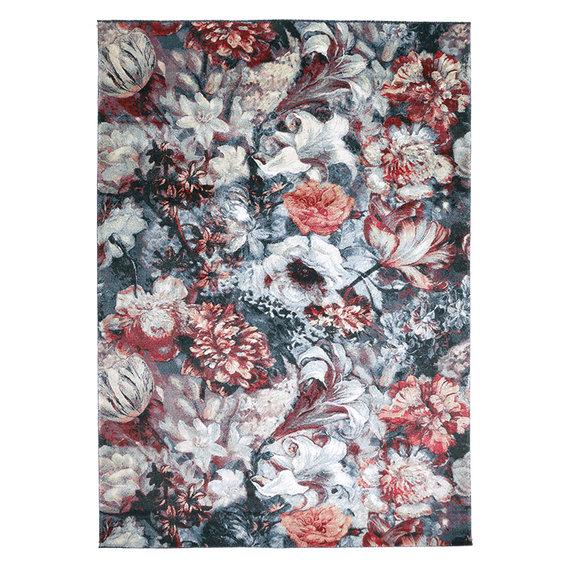 FLOOR Bloemen vloerkleed - Flores Blauw Rood
