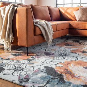 FLOOR Rond Bloemen vloerkleed - Roos Multicolor