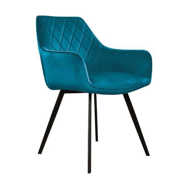 Velvet eetkamerstoel - Karl blauw