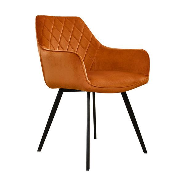 Velvet eetkamerstoel - Karl oranje
