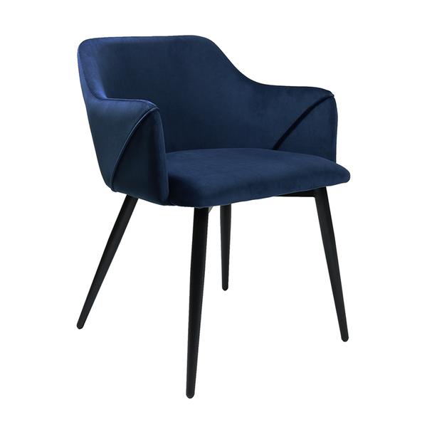 Velvet eetkamerstoel - Matz blauw