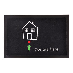 Hanse Home Design deurmat - Lucky You are here Zwart Wit