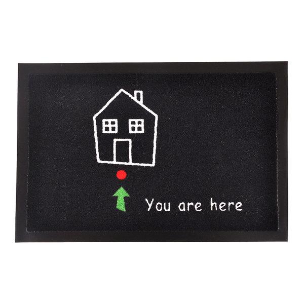Design deurmat - Lucky You are here Zwart Wit