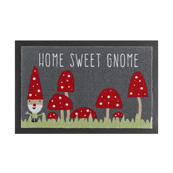 Design deurmat - Lucky Home Kabouter Rood Grijs