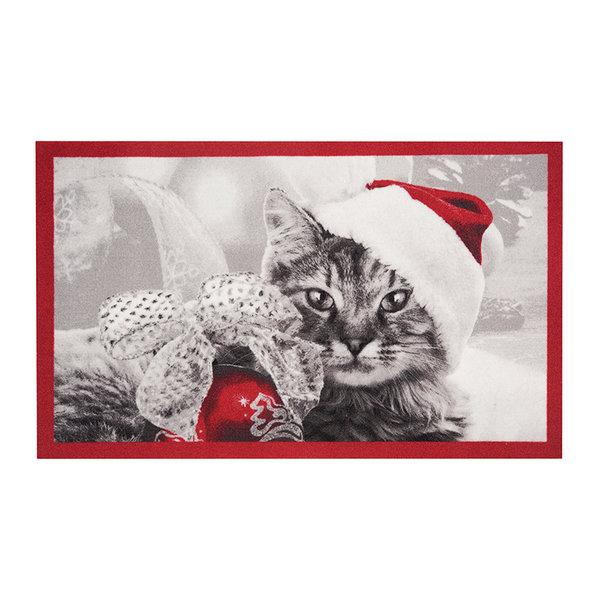 Design deurmat - Lucky Kerstkat Rood Grijs