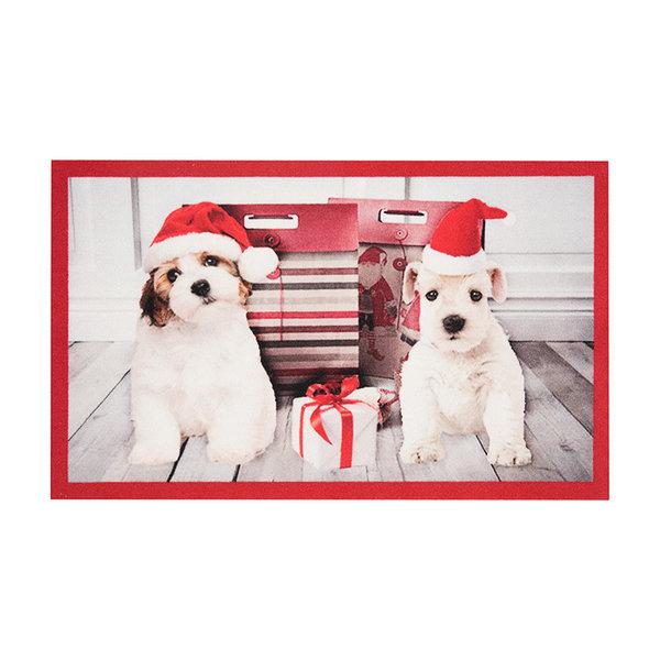 Design deurmat - Lucky Kersthond Wit
