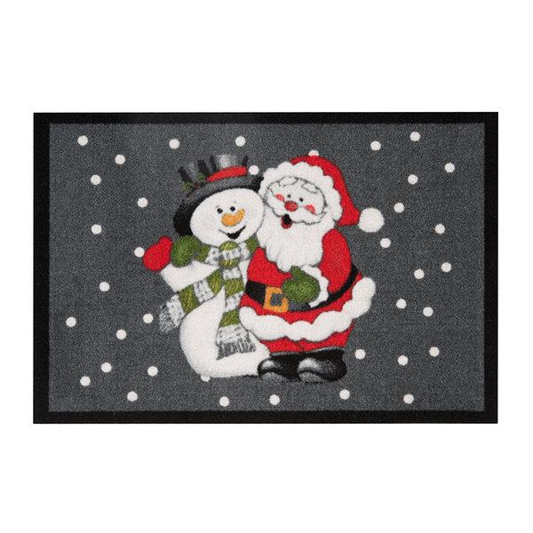 Design deurmat - Lucky Kerstman Grijs Rood