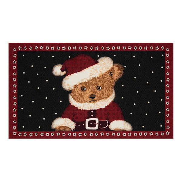 Design deurmat - Lucky Kerstbeer Rood Zwart