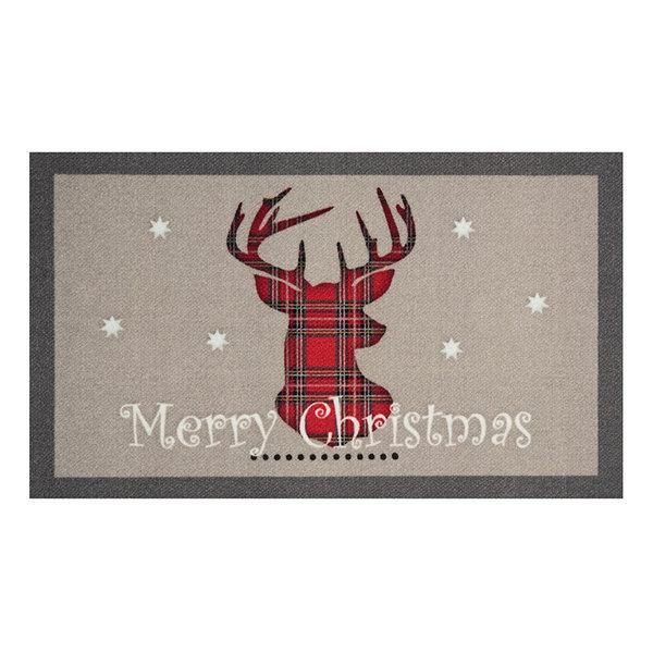 Design deurmat - Lucky Merry Christmas Grijs