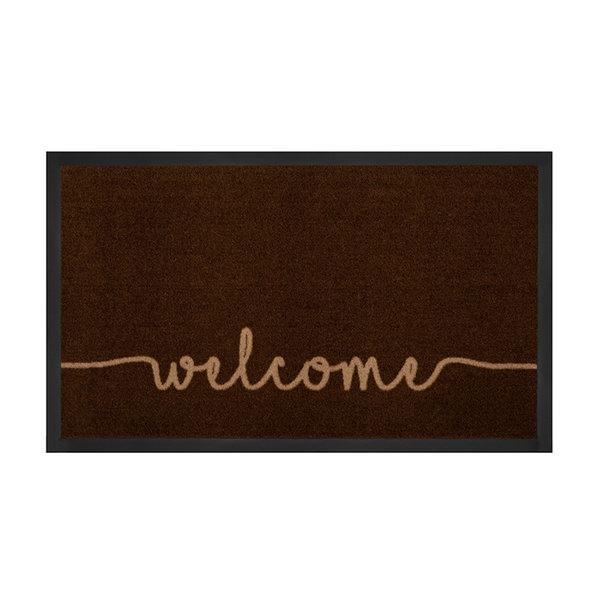 Design deurmat - Lucky Welcome Donkerbruin Beige