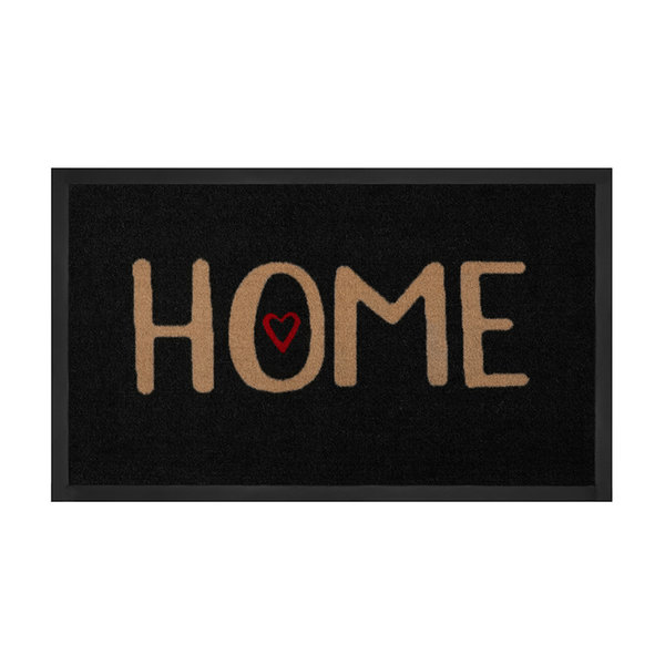 Design deurmat - Lucky Home Zwart Beige