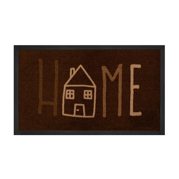 Design deurmat - Lucky Home Donkerbruin Creme