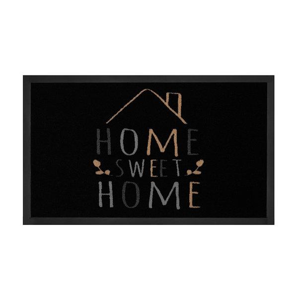 Design deurmat - Lucky Home Zwart Creme