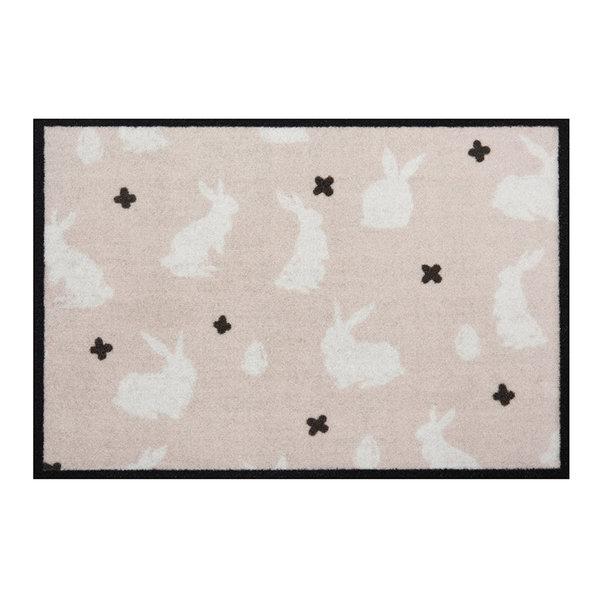 Design deurmat - Lucky Rabbit Beige Creme