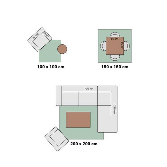 Hanse Home Vierkant Effen vloerkleed - Penny Groen