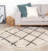 FRAAI Rond hoogpolig vloerkleed - Grand Lines Weave Creme/Zwart