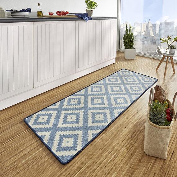 Hanse Home Keukenloper - Raute Blauw Creme