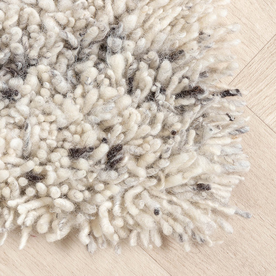 FRAAI Hoogpolig Wollen vloerkleed - Royal Creme / Grijs Gemeleerd