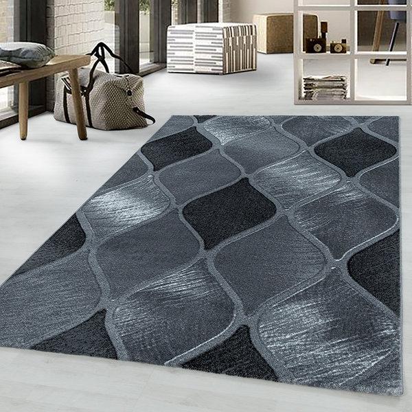 Modern vloerkleed - Streaky Path Zwart Grijs