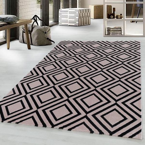 Modern vloerkleed - Streaky Square Roze Zwart