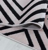 Adana Carpets Modern vloerkleed - Streaky Square Roze Zwart