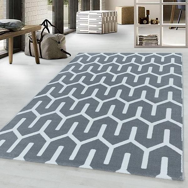 Modern vloerkleed - Streaky Pattern Grijs Wit