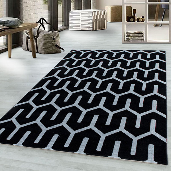 Modern vloerkleed - Streaky Pattern Zwart Wit