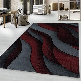 Adana Carpets Modern vloerkleed - Streaky Waves Rood Zwart