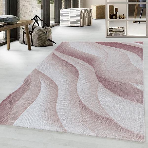 Modern vloerkleed - Streaky Waves Roze Creme