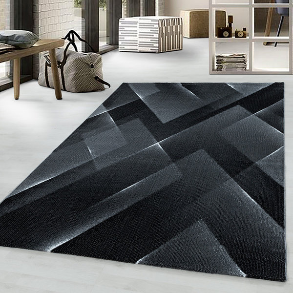 Modern vloerkleed - Streaky Lines Zwart