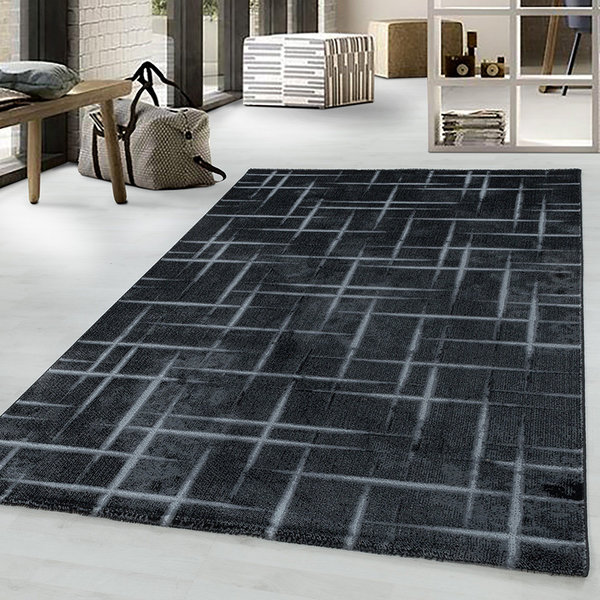Modern vloerkleed - Streaky Skretch Zwart Grijs