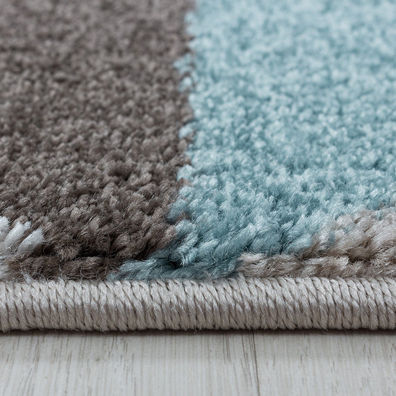 Adana Carpets Retro vloerkleed - Stencil Box Blauw Bruin