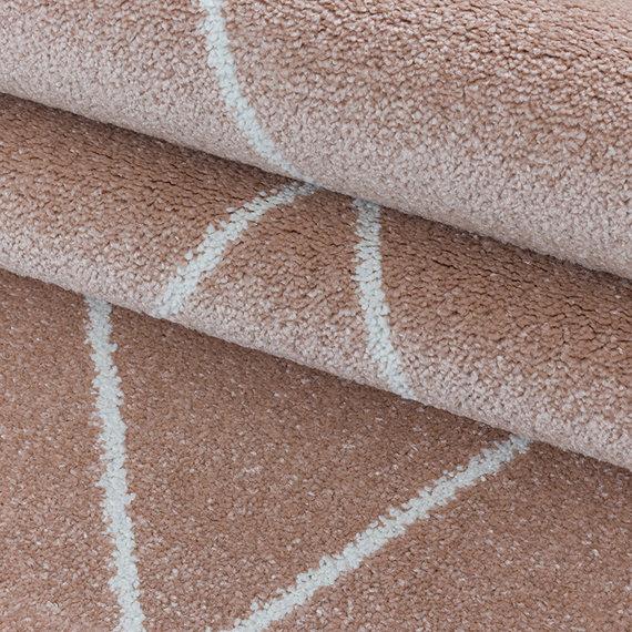 Adana Carpets Retro vloerkleed - Stencil Triangle Roze Wit
