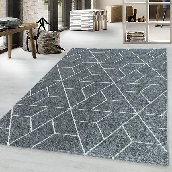 Retro vloerkleed - Stencil Triangle Grijs Wit