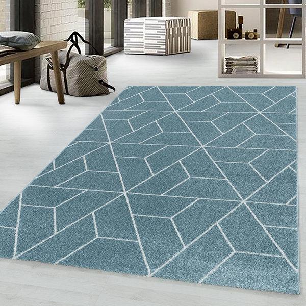Retro vloerkleed - Stencil Triangle Blauw Wit