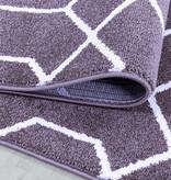 Adana Carpets Retro vloerkleed - Stencil Paars Wit