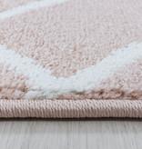 Adana Carpets Retro vloerkleed - Stencil Pattern Roze Wit