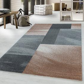 Adana Carpets Retro vloerkleed - Stencil Rectangles Bruin Grijs