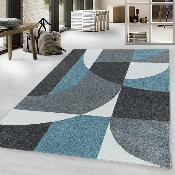 Adana Carpets Retro vloerkleed - Stencil Forms Blauw Grijs