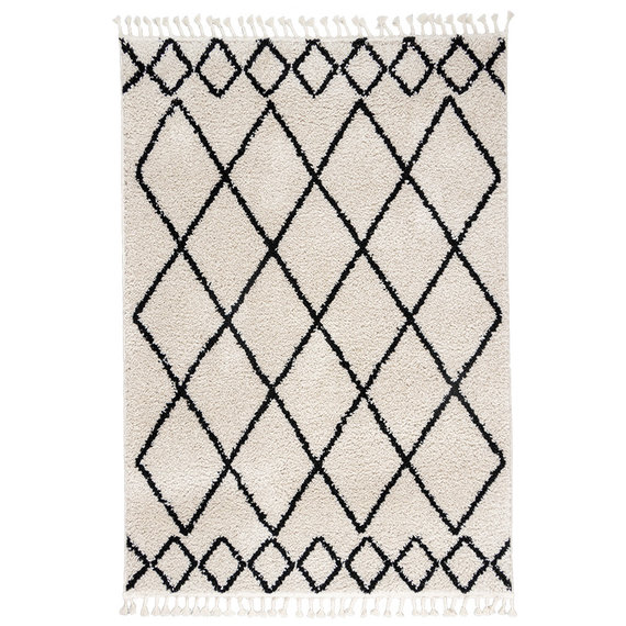 FRAAI Hoogpolig vloerkleed - Grand Diamond Weave Creme/Zwart