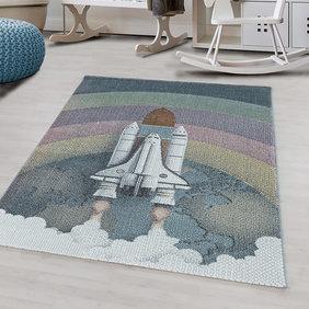 Adana Carpets Kindervloerkleed - Fleurtje Raket Multicolor