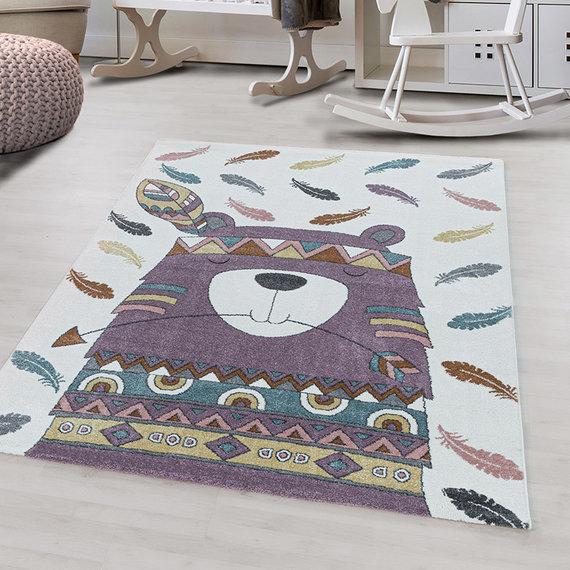 Adana Carpets Kindervloerkleed - Fleurtje Beer Paars