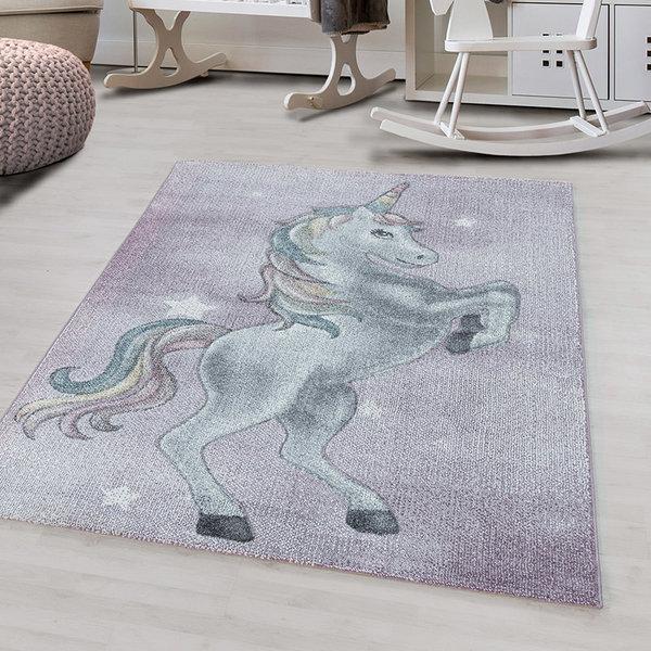 Adana Carpets Kindervloerkleed - Fleurtje Eenhoorn Paars