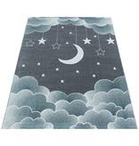 Adana Carpets Kindervloerkleed - Fleurtje Maan Blauw