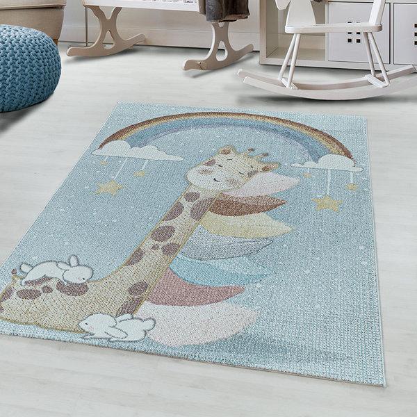 Kindervloerkleed - Lucy Giraffe Blauw