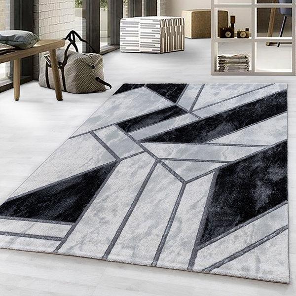 Modern vloerkleed - Marble Design Grijs Zilver
