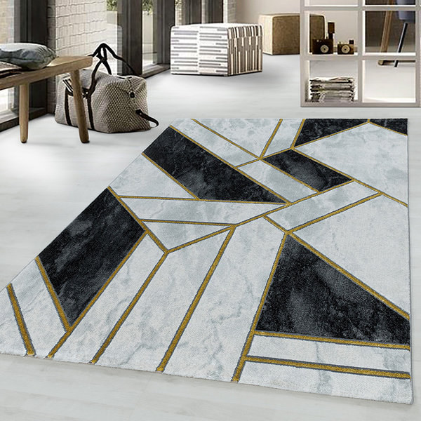 Modern vloerkleed - Marble Design Grijs Goud