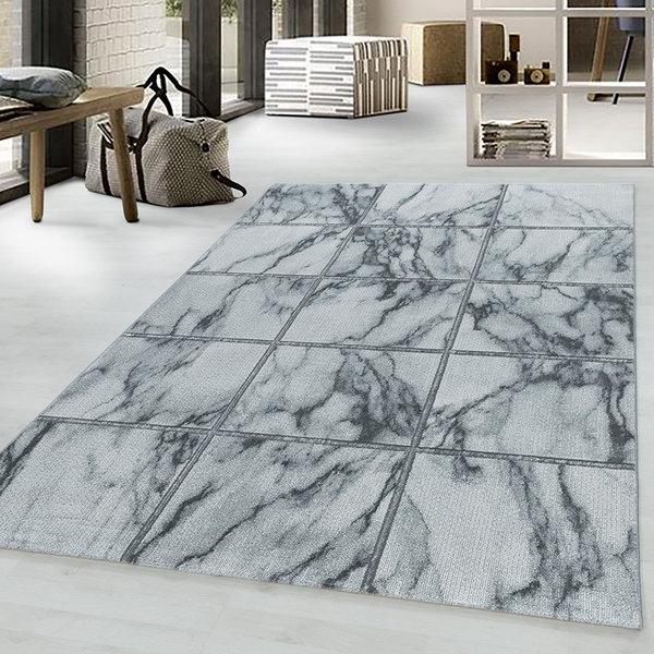 Modern vloerkleed - Marble Box Grijs Zilver