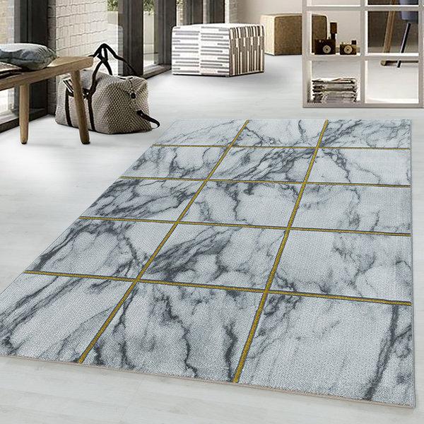 Modern vloerkleed - Marble Box Grijs Goud