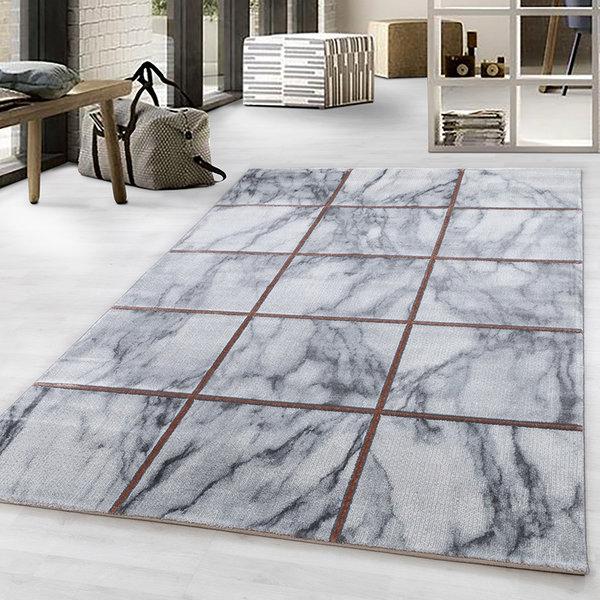 Modern vloerkleed - Marble Box Grijs Bruin